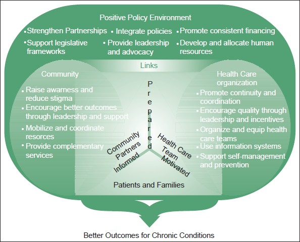 Figure 2: WHO innovative care for chronic conditions framework. Source: World Health Organization. Innovative care for chronic conditions: Building blocks for action. Geneva: World Health Organisation; 2002